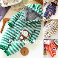 new 2014 autumn Winter romper baby clothing newborn baby boy striped cotton romper kids overalls baby wear