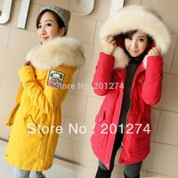 2014 Hot Sale Real Long Women Coat Jaqueta Feminina Autumn Women's Medium-long Zipper Shoulder Cotton-padded Coat Jacket Wadded
