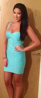 Free Shipping New Colour Women's HL Bandage Dress Blue Sleeveless Dress Evening Party Dress Celebrity Dress Wholesale