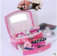 New arrival, beautiful leather european storing jewelry  suitcase for jewelry carrying case  free shipping