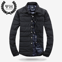 Newest 2013 male down coat short down coat shirt design men's clothing thermal down coat shirt male