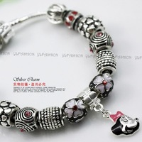 2013 New Arrival European Tibetan Silver Chain Charm Bracelet for Women With Animal Glass Beads Christmas Jewelry PA1167