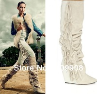2014 Fringe Suede And Leather Knee White Boots Winter High Heels Long Wedge Tassel Boots for Women