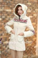 New 2014 Women Trench With Hood Winter Women Coats Flowers Print Long Length Wool Cardigan Slim Fashion White M~XL Free Shipping