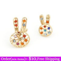 Boutique Designer Lovely Cute Gold Filled Rabbit Twinkling Czech Crystal Asymmetric Women Stud Earrings