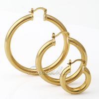 4mm Womens Girls Earrings Smooth Round Tube Hoop Earrings Gold Filled GF w/ Snap Closure Fastening GEM03