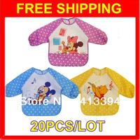 20 Pcs/lot NEW Cute Cartoon Children's Baby Toddler Waterproof Long Sleeve Art Smock Bib Bibs Apron Burp Cloths