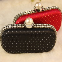 Free Shipping Retro luxury pearl diamond wedding clutch purse high quality female shell evening bag small stylish party handbag