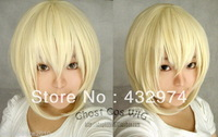 NEW light blonde short straight cosplay full wig