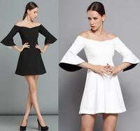 NEW Cute Sexy Bare Shoulder Dress Slash Neck Ruffles Peplum White Mini Flare Sleeves Brief Vintage Celebrity Little Black Dress