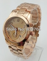 10pcs/lot Men's Popular Business Stainless steel Rose gold Watch small pointers decoration Quartz watches for men Free shipping