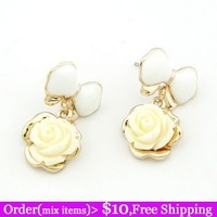 Boutique Korean Fashion Designer Gold Filled Flower Bowknot 2 Colors Lovely Charms Women Dangle Earrings