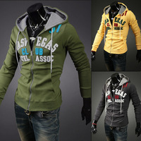 Free shipping New style fashion mens coats casual active Jacket Letters patch cardigan hooded fleece