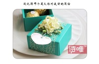 50pieces/lot Free Shipping Handmade Paper Wedding Candy Boxes summer blue Favor Box Ivory Flowers Romantic Party Suplies