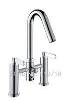 Bathtub shower faucet Deck Mounted Bath Elbow spout Faucets Dual Handdle Round shape 122015