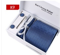 Free Shipping Wholesale ties for Men Polyester Dress Set 3.35inch Wide Woven Ties Set :Tie+ Cufflink + Tie clip +Hankie+Gift Box