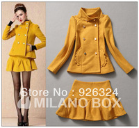 New arrival 2013 elegant double breasted woolen outerwear tops+ yellow corrugated short skirt half-skirt pajamas set