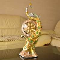 Gold peacock clock fashion clock home decoration crafts gift