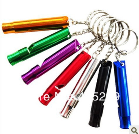 Free shipping by DHL/Fedex 500pcs/lot Wholesale Outdoor Whistle Whistle Train whistle Aluminum keychain whistle(China (Mainland))