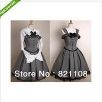 Free shipping Gothic Lolita corset jumper grey dress victorian