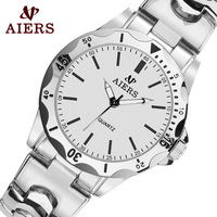Aiers watch male brief mens watch flower fashion alloy steel strip men's inveted