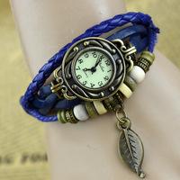 (Minimum order $ 10) 2014 new 78 women retro dress watch wristwatch fashion students leaves jewelry wholesale