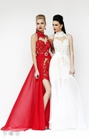 Exquisite Free Shipping High Neck Off The Shoulder Sleeveless Appliqued Chiffon Long Formal Evening Prom Dresses Custom Made