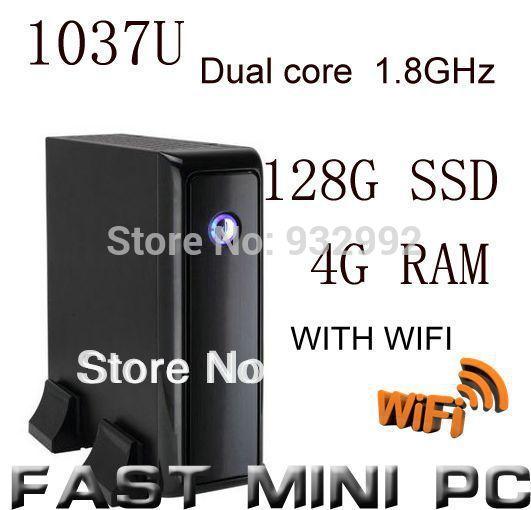 mini pcs ITX Computer with Intel 1037u Dual Core 1.8GHz 4G RAM 128G SSD thin client mini computer with HDMI wifi(China (Mainland))