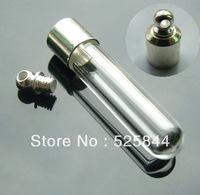 Free shipping !! 50pcs/lot  (SP004) tube glass vial pendant screw cap perfume essential oil bottle