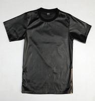 men leather t shirt side zipper  crocodile leather shirt   hip hop BIG SIZE  S to XXXL