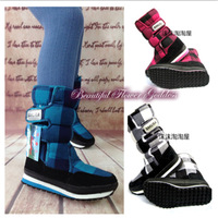 New Arrival Woman Snow Boots Thermal Cotton-Padded Shoes Slip-resistant Winter Warm Gingham Snow Boots SH-045