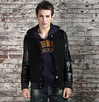New 2013 Brand Men Casual Autumn Winter Jacket Outdoor Coat, Fashion Korean Style Slim Fit PU Leather Sleeve Jacket Outerwear