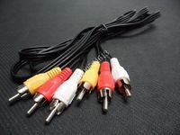 5FT 1.5M Triple 3 RCA to RCA 3RCA Composite Audio Video Male-Male AV Cable Plug  Wholesale 50pcs