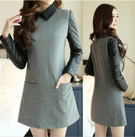 Free shipping 2013 new autumn and winter temperament woolen stitching slim long-sleeved one-piece dress,wholesale,hot