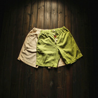 big bulk wholesale spring and summer autumn  beaded tether water wash vintage linen solid color male casual shorts