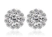 Stud Earrings Made With Swasrovski Element Crystal Jewelry Swiss CZ Diamond  2014  Weddings Women JS025
