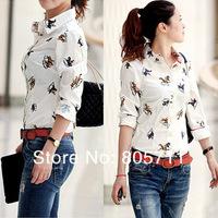 Ride Horse Pattern Print Blouse Shirt Women Clothing Vintage White Blusas Femininas Long Sleeve New 2014 Korean Style Work Wear