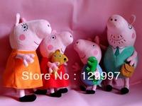 Free Shipping Christmas Gift Hot Sale Daddy Mummy Pig Peppa pig George Pig Family Plush Set Stuffed Anime Plush Dolls Baby Toys