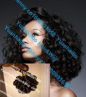 "5a quality, mix length, 3pcs/lot 16"" #1b virgin brazilian tight bouncy curl human hair weave curly, free shipping"