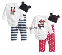 wholesale!hotsale! toddler baby girl boys mickey/minnie bodysuit clothing set, jumping suit set, romper+hat+pant,3pcs/lot