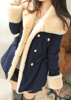 2014 medium-long wool coat double breasted slim waist woolen outerwear female