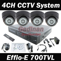 DHL Fedex 4CH Full D1 CCTV System DVR Kit with Effio-E 700TVL IR Dome Indoor Cameras  Day Night Color Security Camera System