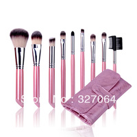 HotSale 10pcs Fashion Mini Makeup Cosmetic Brush Brushes Set+ Pink Leather Pouch