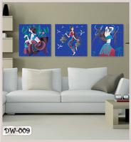 New Arrival Frameless Painting 3D Blue Girls Home Painting Picture 3pcs/set 29*29cm 009