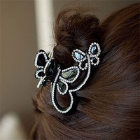 2014 11.11 big Promotion Fashion Korean Big Crystal Stone Butterfly Hair Clips Hair Claw Clip