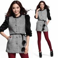 ON Sale  Promotion Muzi women's winter rabbit fur half sleeve fashion slim wool coat wool 98210  cheap HOT
