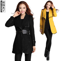 ON Sale  Promotion Muzi winter luxury turn-down collar belt outerwear wool coat 86181  cheap HOT