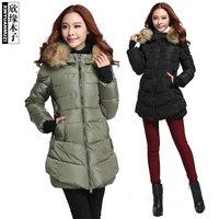 ON Sale  Promotion Muzi large fur collar slim down coat medium-long cotton-padded wadded jacket 99305  cheap HOT