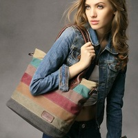 HOT New Fashion Retro Women Canvas Multi Leisure Shoulder Bag Tote Striped Bag