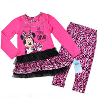 9320 cartoon minnie mouse pink cute leopard print lace dress and pant girls suit kids costume for party new year